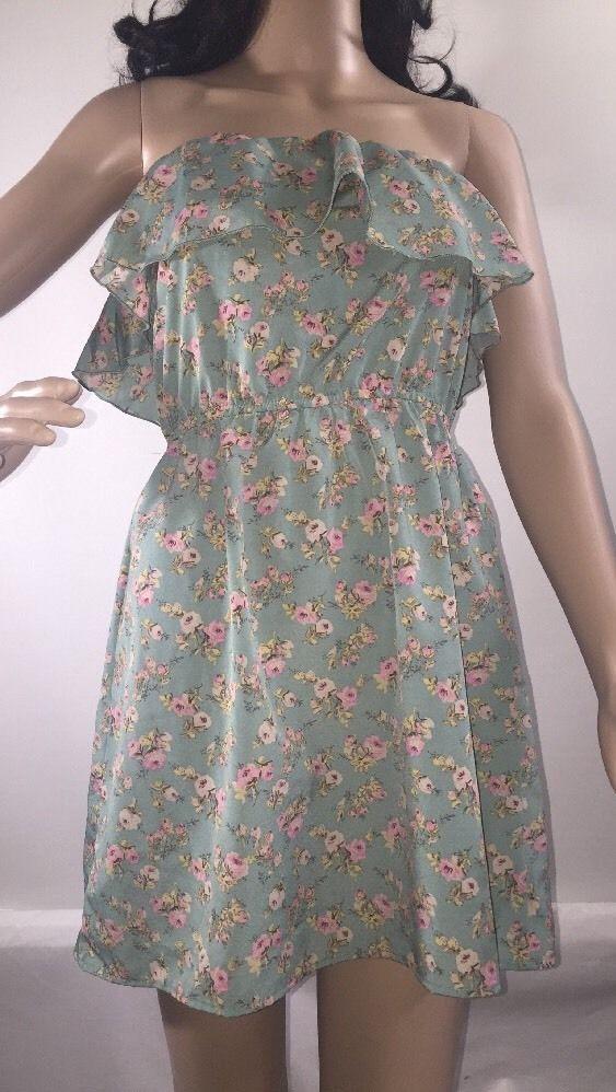 0da3c9ca63 Charlotte Russe Dress Strapless Ruffle Vintage Inspired Teal Pink Floral -  XS  CharlotteRusse  Sundress
