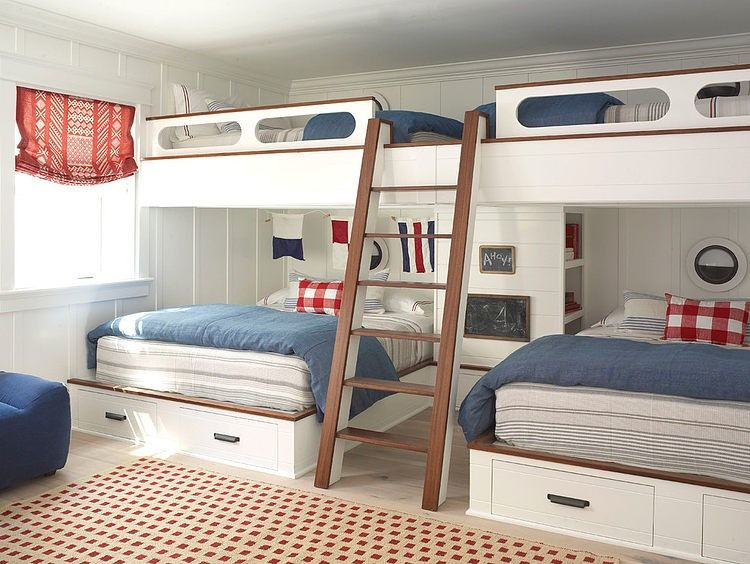 Kids Room With 4 Beds Nautical Style Perfect For Sleep Overs