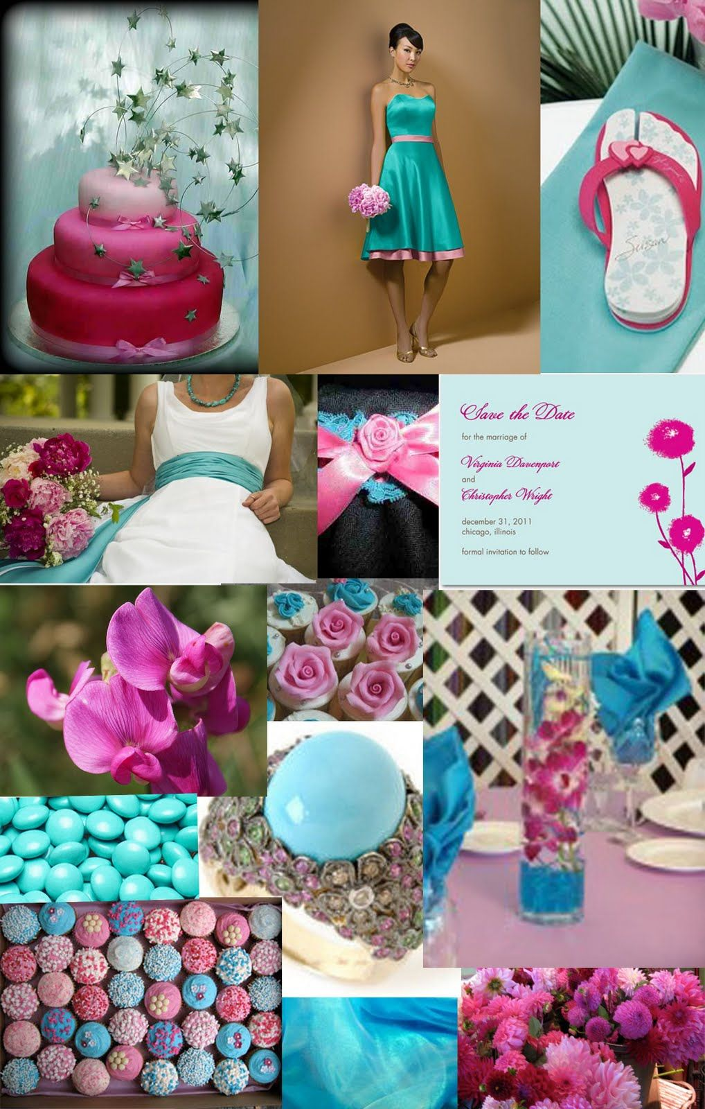 Magenta C Mint And Aqua Wedding Flower Arrangements Pink Turquoise Flowers