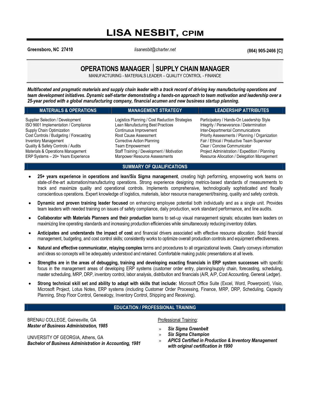 Supply Chain Manager Resume Resume Senior Operations Manager Senior Manager Operations Operations Management Logistics Management Resume Examples