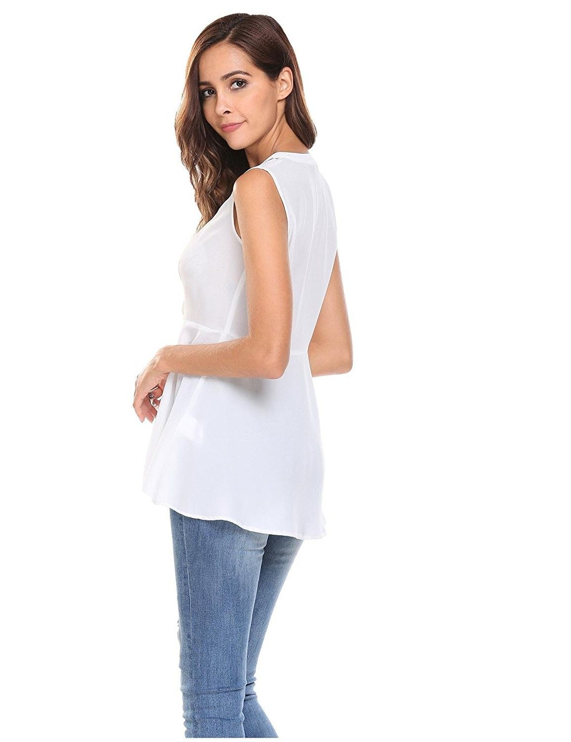 5587fe3e3b Women's Clothing, Tops & Tees, Blouses & Button-Down Shirts, Women  Sleeveless V Neck Tank Top Slim Fit Lace Chiffon Peplum Blouse Shirt - White  ...