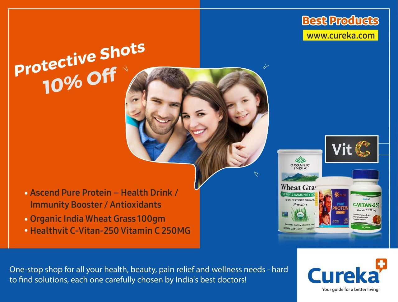 Protective Shots with Vitamin C 10 Off only Cureka