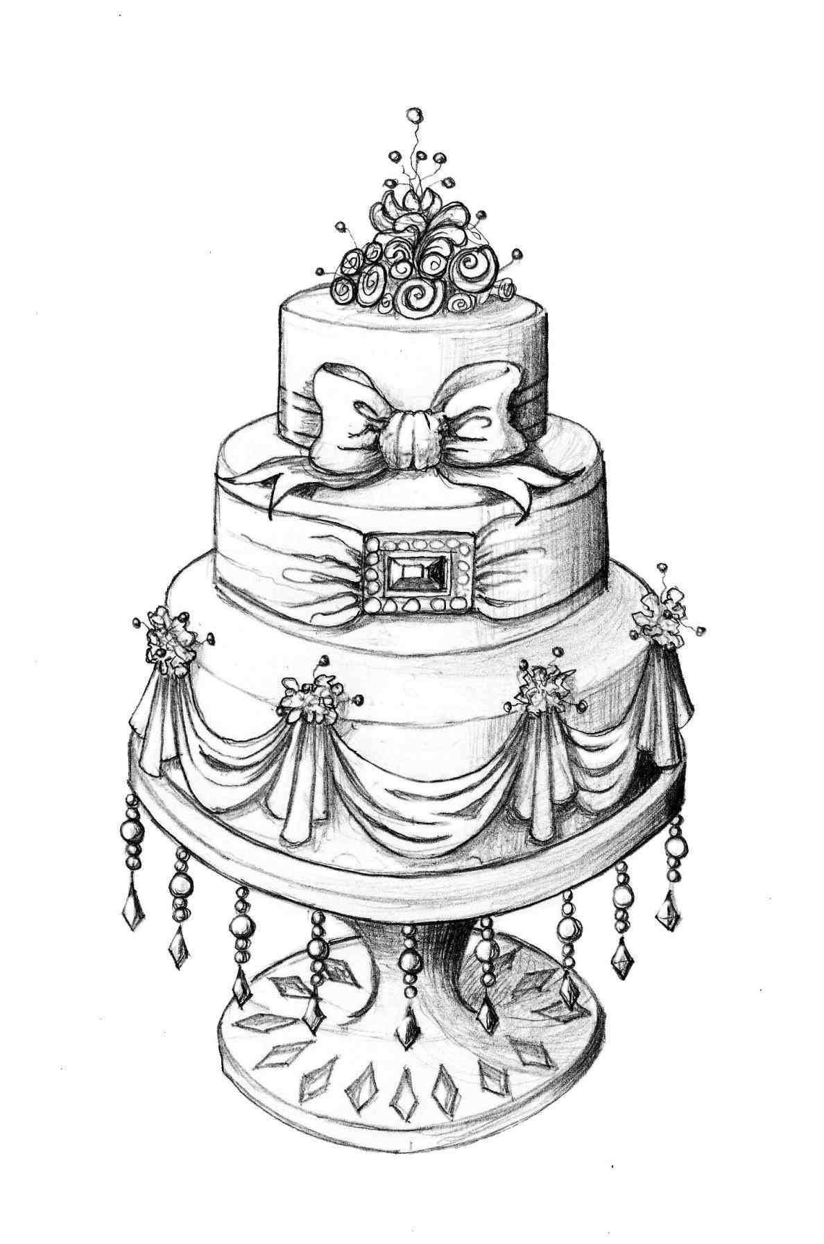Cake sketch, Cake drawing, Cake illustration, Cupcake