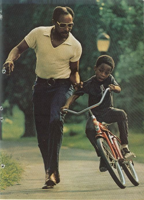 Learning To Ride A Bike Black Fathers Fathers Love Bicycle