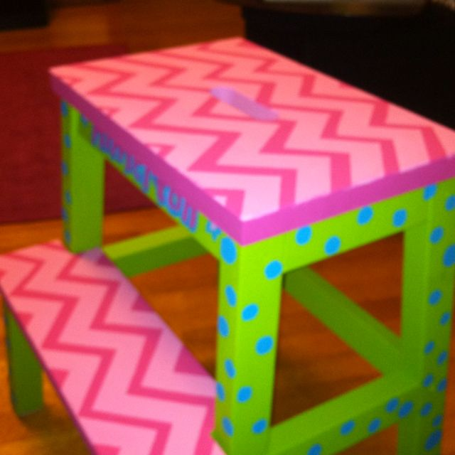 check out my step stool i painted tonight im happy with how it