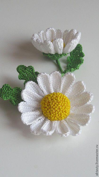 купить брошь вязаная ромашка белый подарок на 8 марта вязаные