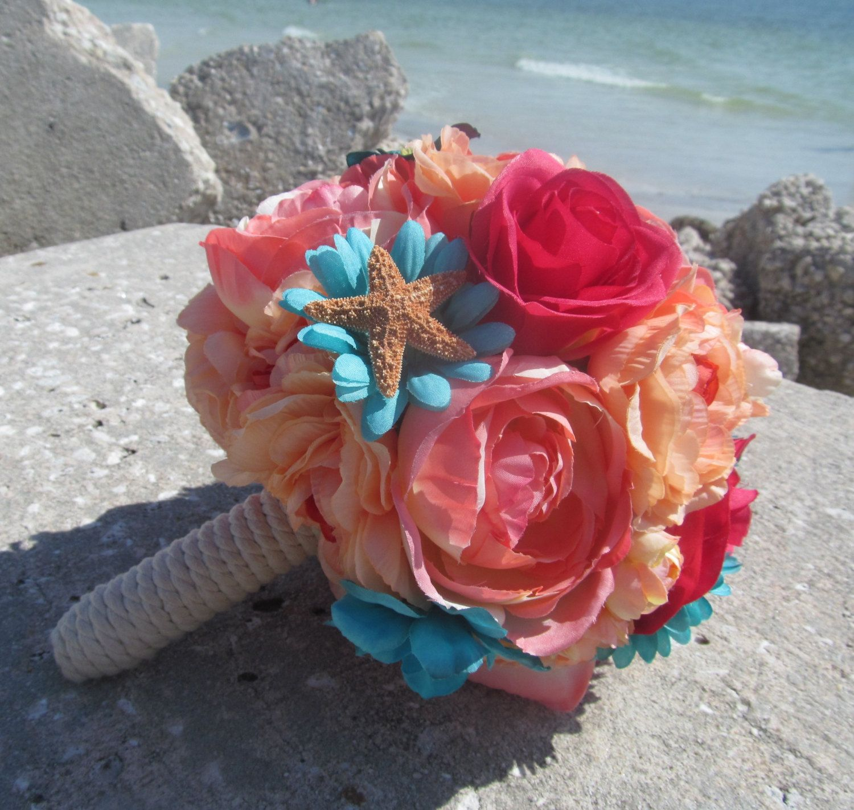 Coral and teal flower bridal bouquet bridesmaid sugar