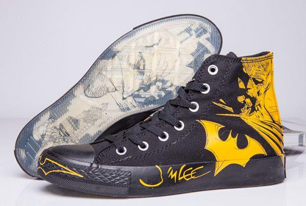 cb33671b20e4 Black Yellow Batman Converse DC Comics High Tops Chuck Taylor All Star  Canvas Shoes  converse  shoes