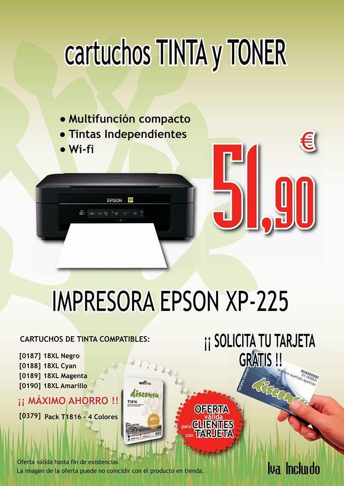 IMPRESORA EPSON XP-225 *Multifunción compacto *Tintas independientas (Negro, Cyan, Magenta, Amarilla) *Wi-fi *Velocidad de impresión 6,2 pág/min (monocromo) 3,1 pág/min (color) *Escaneado 300 dpi en 2,4 msec *Resolución escaneado 1.200 x 2.400 dpi *CARTUCHOS COMPATIBLES 18XL