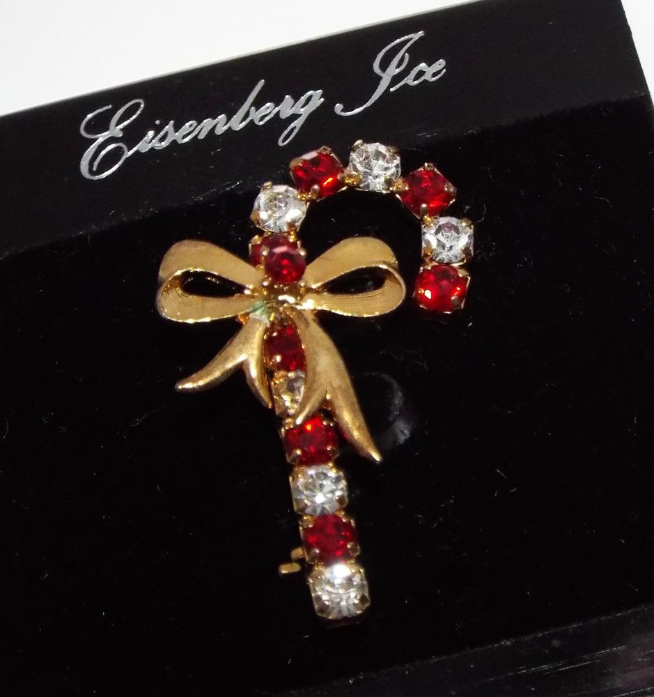 Vintage signed EISENBERG ICE Rhinestone Christmas Candy cane w/ bow BROOCH pin   #EisenbergIce #Vintage