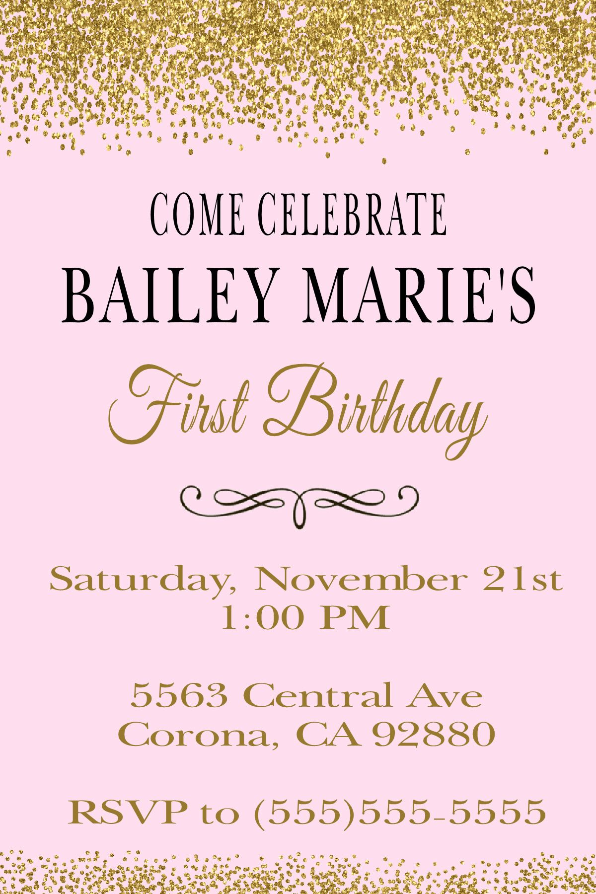 Pink & Glitter Gold Birthday Invitation. Click on the image twice to ...