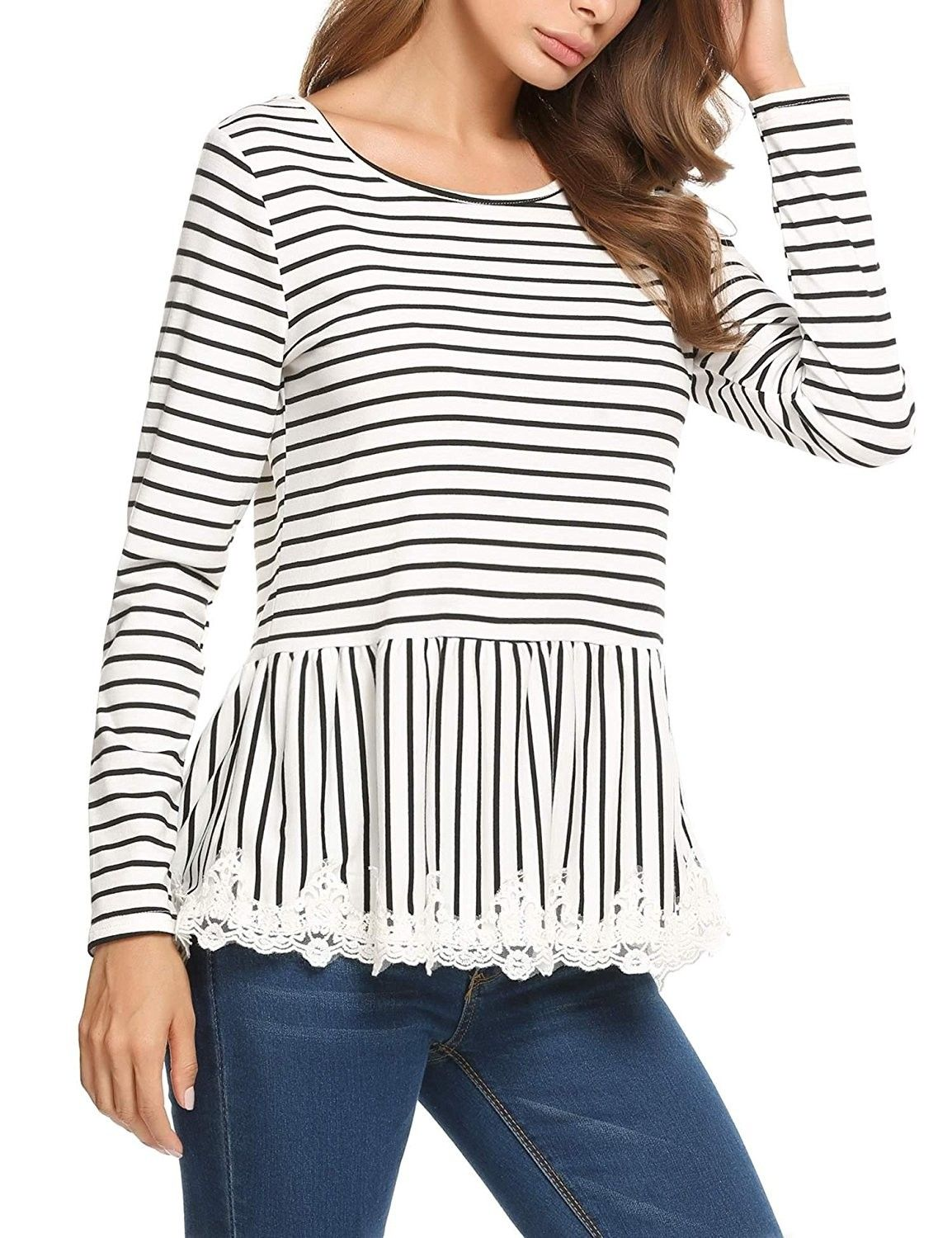 a2aaeddd5 Women's Clothing, Tops & Tees, Knits & Tees,Women's Casual Long Sleeve  Striped Frill Lace Trim Tops Shirt - Black - CL185209WUI #Clothing #Tops  #Tees #women ...