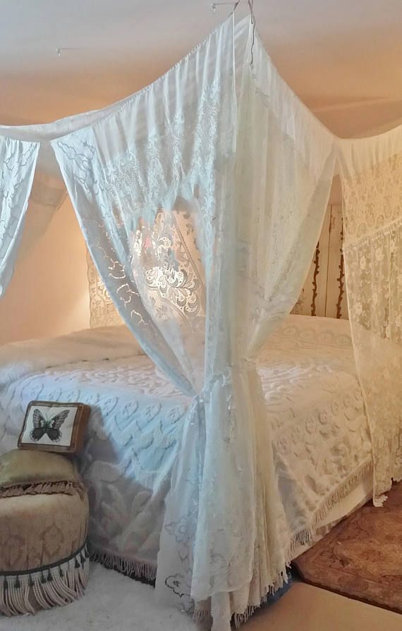 Bed Canopy IN STOCK Boho Shabby Chic White Cream Gypsy Hippie