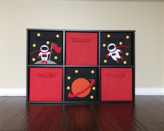Outer Space THREE Bin Set Cube Storage Bin By SewFreakinAwesome, Outer Space  Nursery, Outer