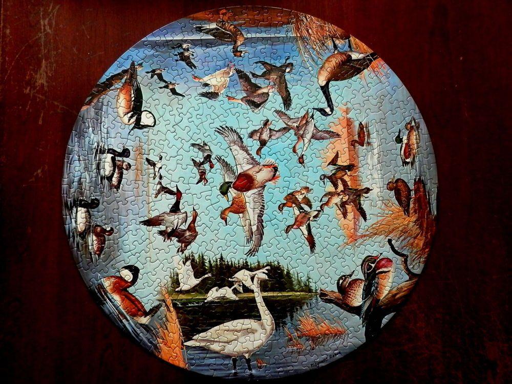 1966 Springbok Circular Puzzle Ducks And Geese By Maynard Reece Complete In Box Christmas Bulbs Springbok Maynard