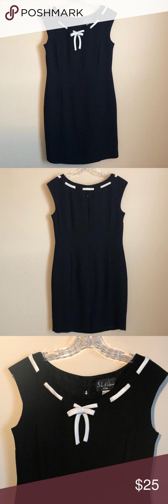 Women S Petite Black Dress Petite Dress With A White Ribbon Neck Line And A Zipper On The Back S L Fashions D Petite Black Dresses Black Dress Petite Dresses [ 1740 x 580 Pixel ]