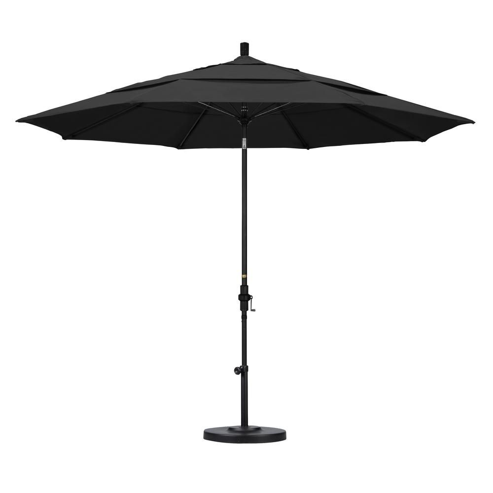 California Umbrella 11 ft. Fiberglass Collar Tilt Double Vented Patio Umbrella in Black Pacifica-GSCUF118705-SA08-DWV - The Home Depot