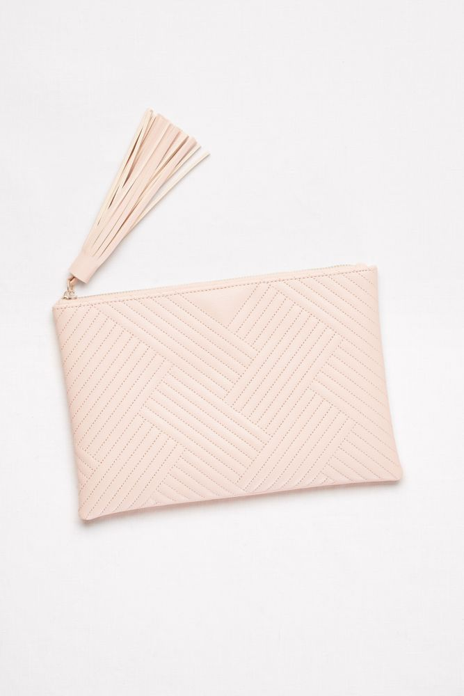 Quilted Faux-Leather Clutch with Tassel - Neutral (White)