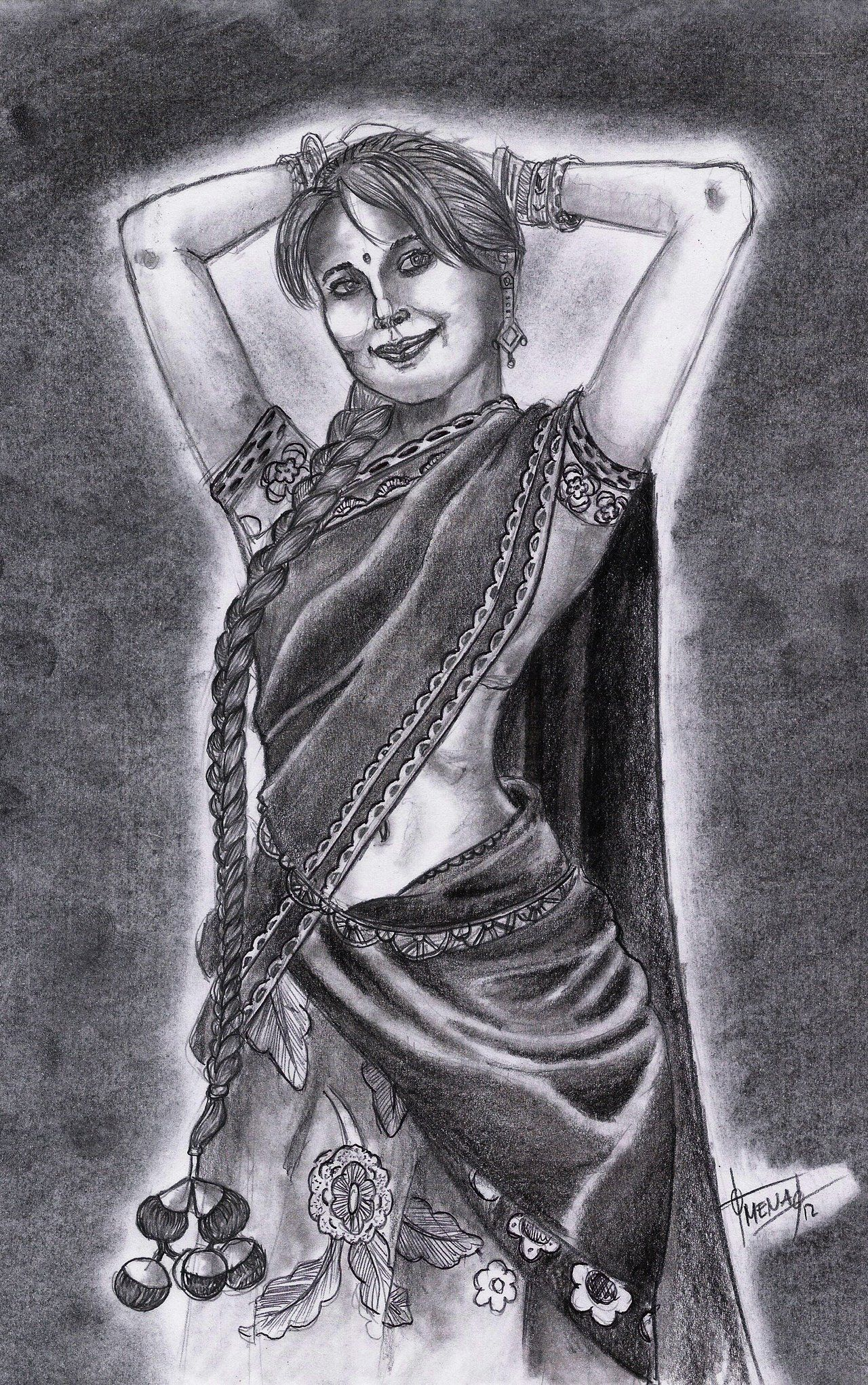 Uncategorized How To Draw An Indian Girl indian woman with traditional sariby genomeix deviantart com com