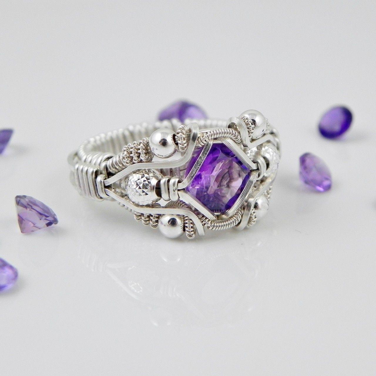 Gemstone Wire Wrapped Amethyst Ring Silver Handmade Fair Trade USA ...