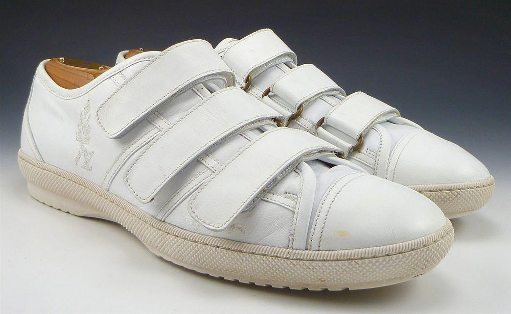 83a555e68eb9 Louis Vuitton sz 6.5 Leather Strap Sneakers GO0077 Mens White fits US 7.5   LouisVuitton  FashionSneakers  distinctivedeals