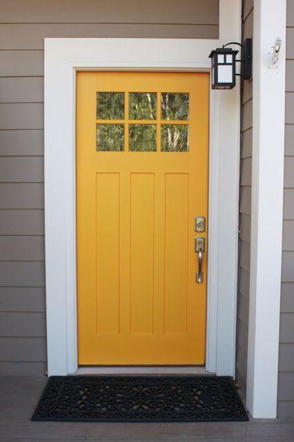 The Friendly Home Yellow Front Doors Front Door Paint Colors Painted Front Doors