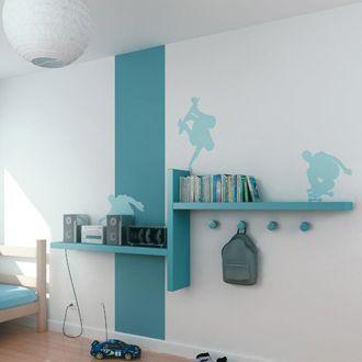 style tag re chambre du petit tag re gris et bande de peinture gris anthracite sans stickers. Black Bedroom Furniture Sets. Home Design Ideas