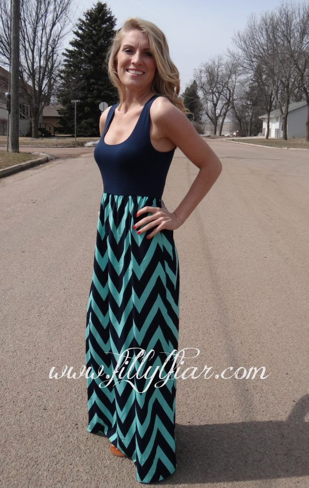Navy and Mint Chevron Maxi dress.  Please come back in stock!!!