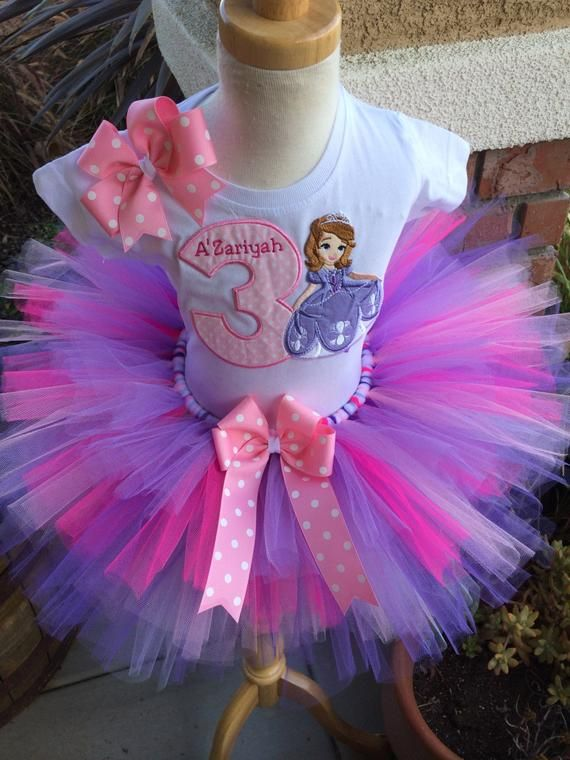 2a8a08b75 Sofia the First Sophia Birthday Party Tutu Outfit Dress Set Handmade 1st  2nd 3rd
