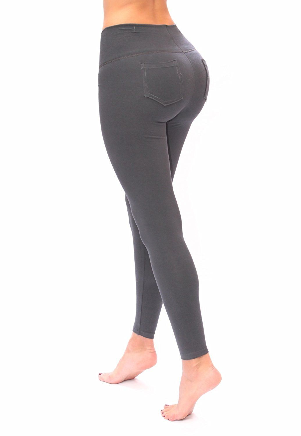 Women gray Leggings with pockets slim and tone control by Bon Bon Up at Amazon Women's Clothing store: