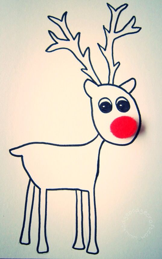 Free Christmas Card Ideas For Children To Make Part - 34: Free Printable Pompom Reindeer Christmas Cards (free Printable)  Www.hodgepodgecraft.com Rudolph