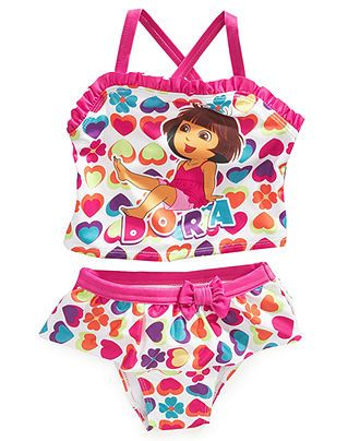 27d4d1584f Dora the Explorer Kids Swim, Little Girls Heart-Print Two-Piece Swimsuit -  Kids Swimwear - Macy's