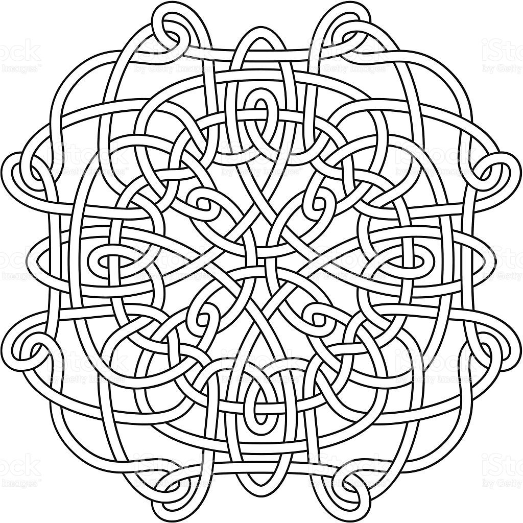 Complex Celtic knot, as a clean black outline, ready for ...