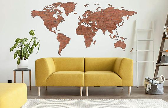 Brick wall Art World Map Decal Print Map of the world prints Decal ...