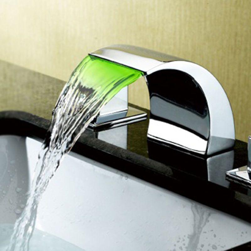 Modern Led Waterfall 2 Handles Crescent Bathroom Basin Tap Free Shipping Basin Mixer Taps Basin Mixer Bathroom Basin Taps