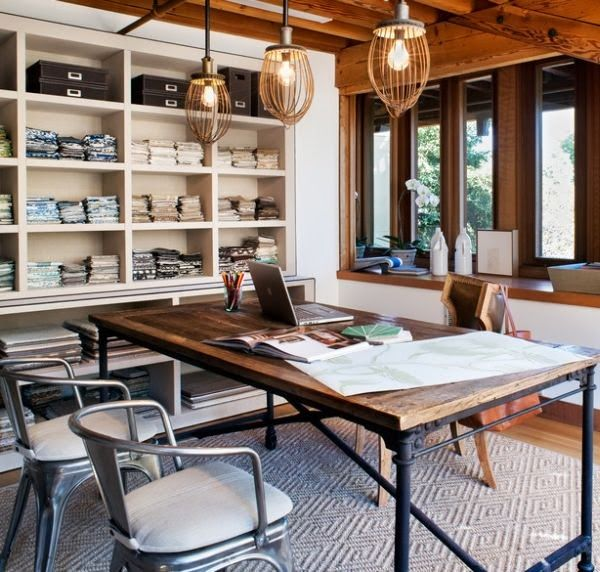 industrial-home-office-desk Nice work space Good shelves for