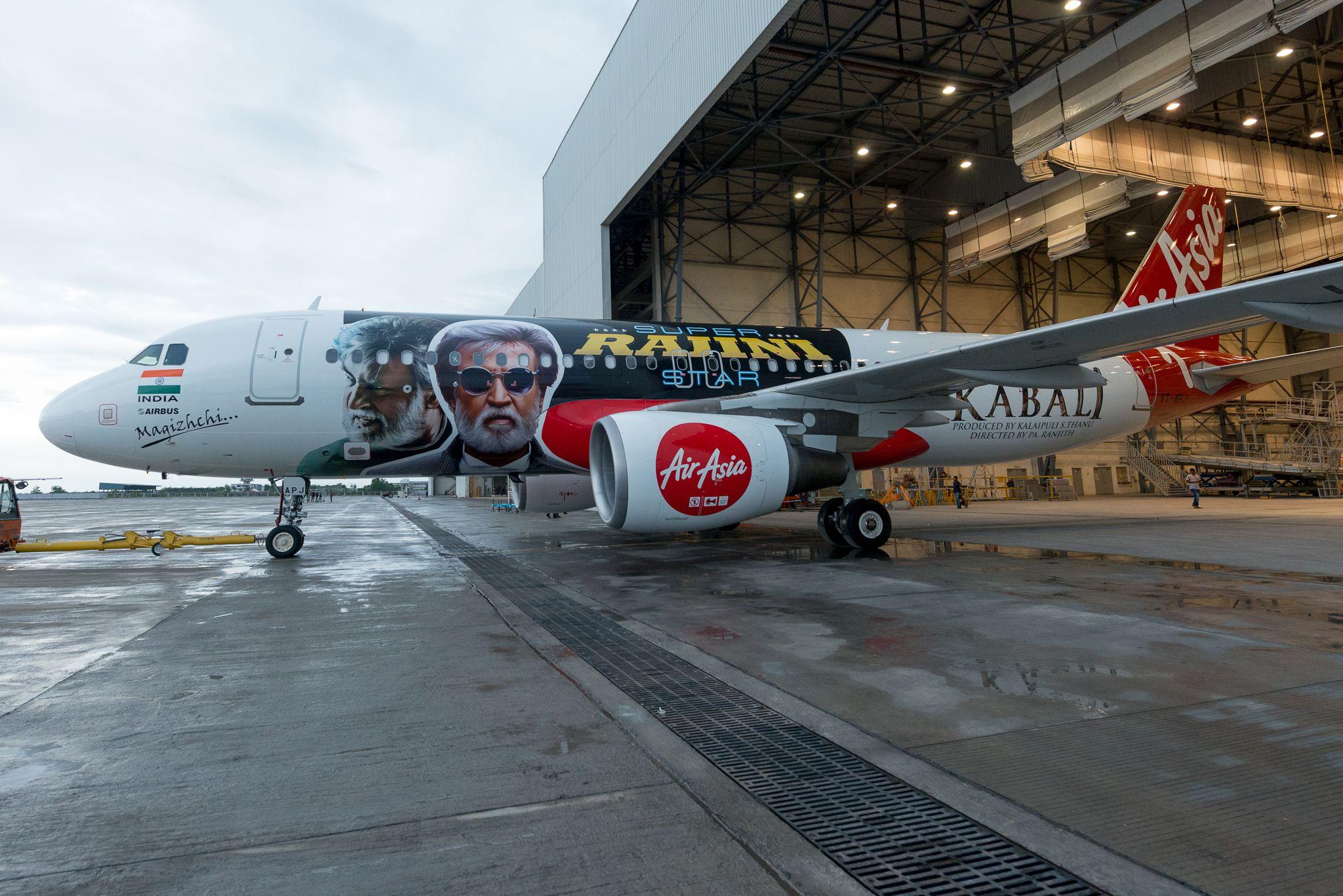 AirAsia India's aircraft dedicated to 'Kabali' Aircraft