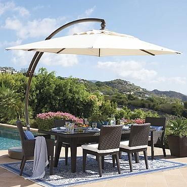 European Oval Side Mount Umbrella Frontgate Patio Patio Umbrellas Pergola Patio