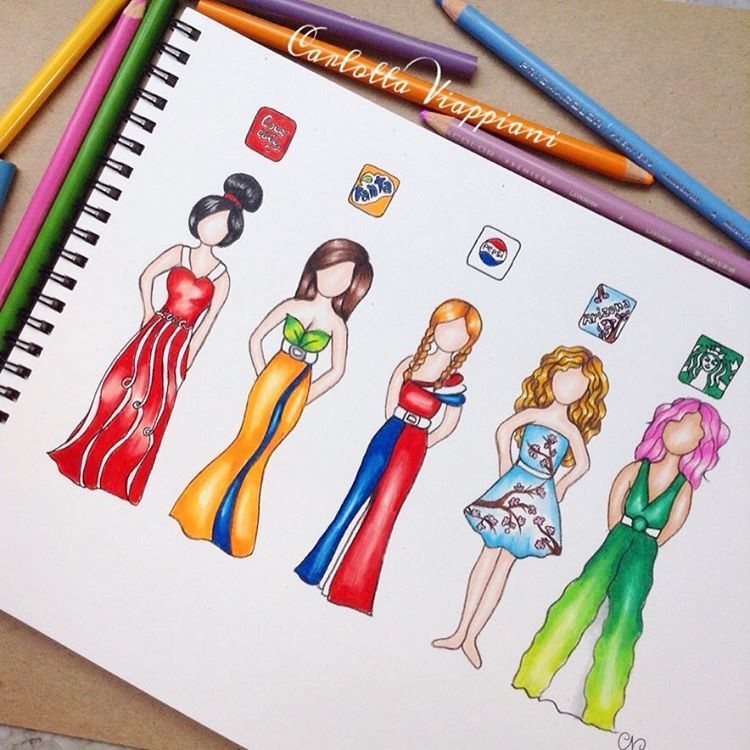 "Art Ideas App: ""Drinks-Dresses I See Everybody Drawing These Kind Of"