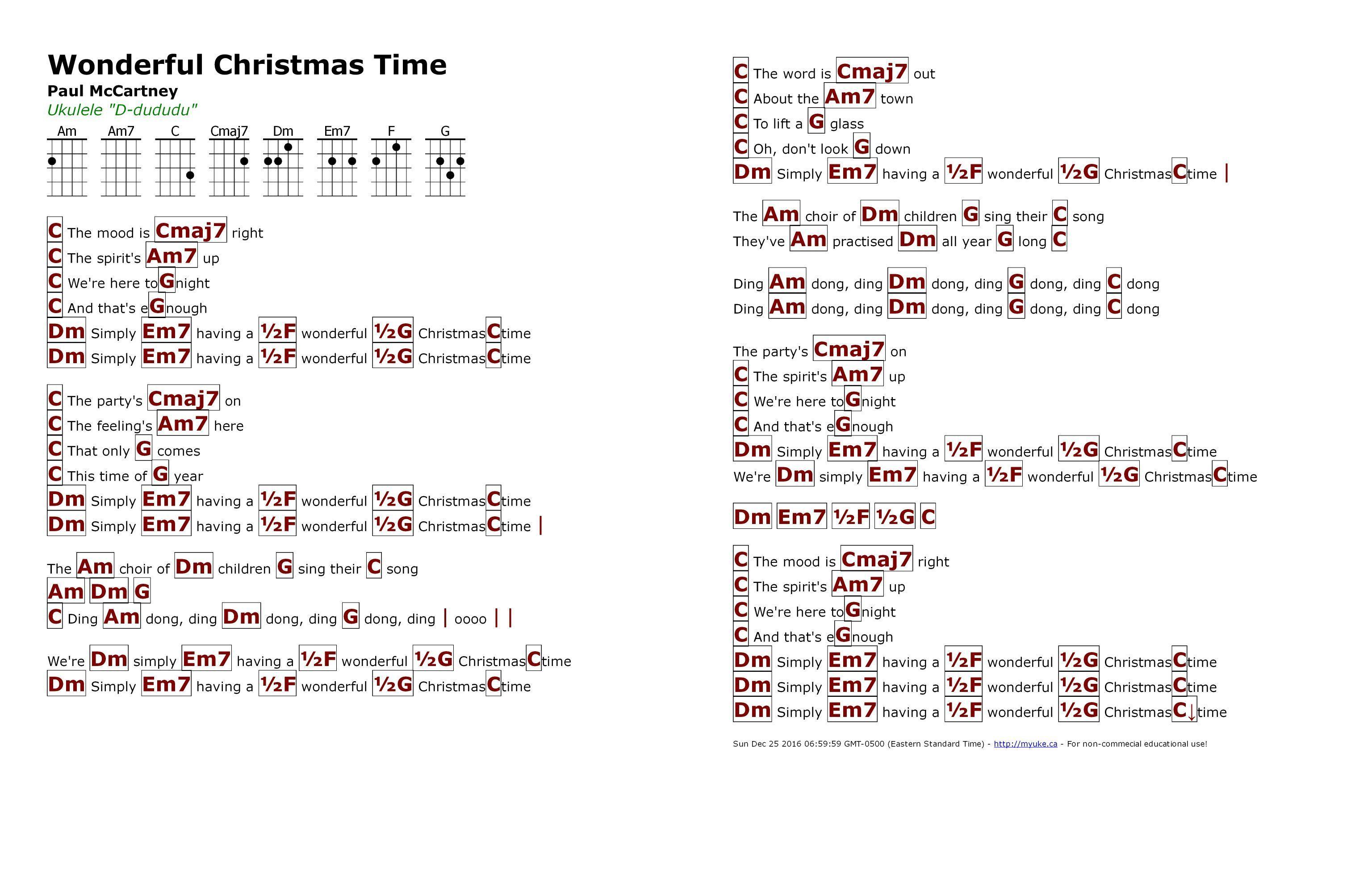 Wonderful Christmas Time (Paul McCartney) - http://myuke.ca | Music ...