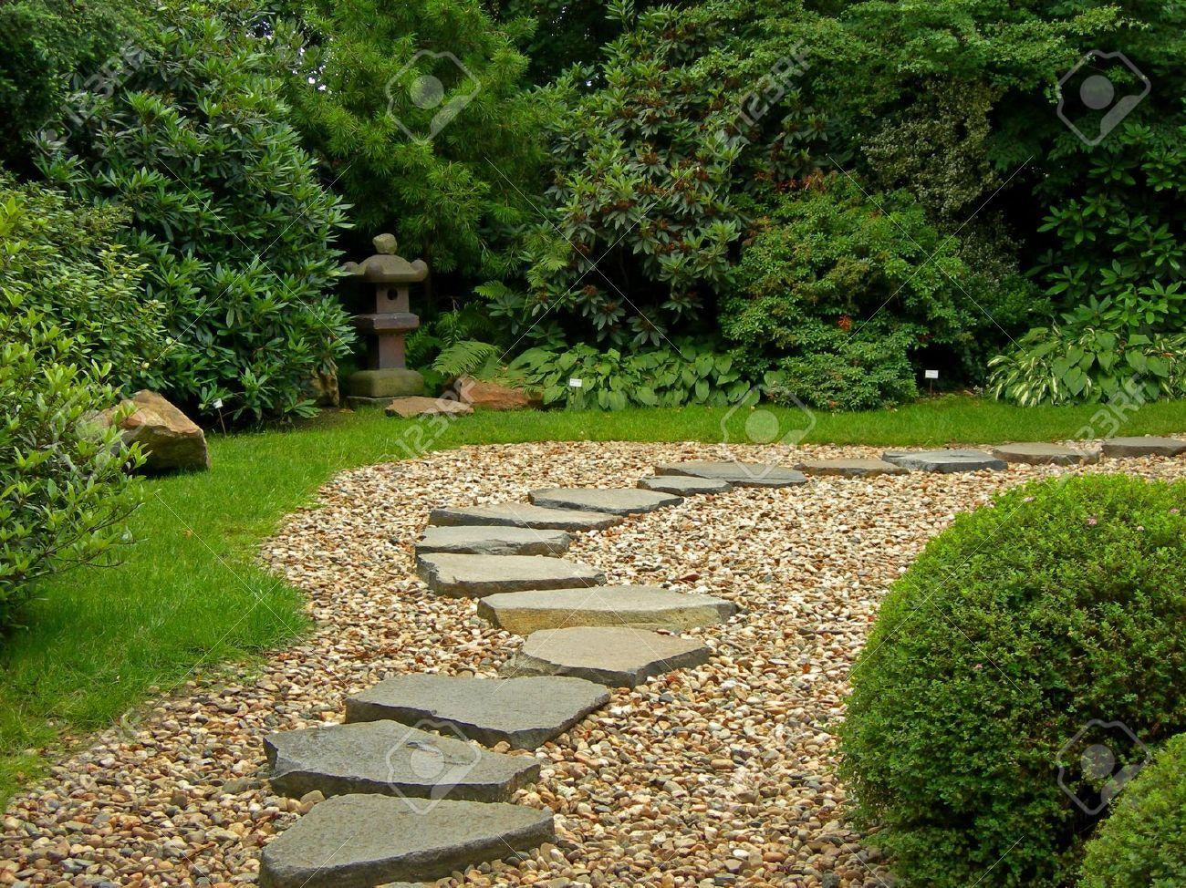 Zen path in a japanese botanical garden in prague stock for Japanese garden path design