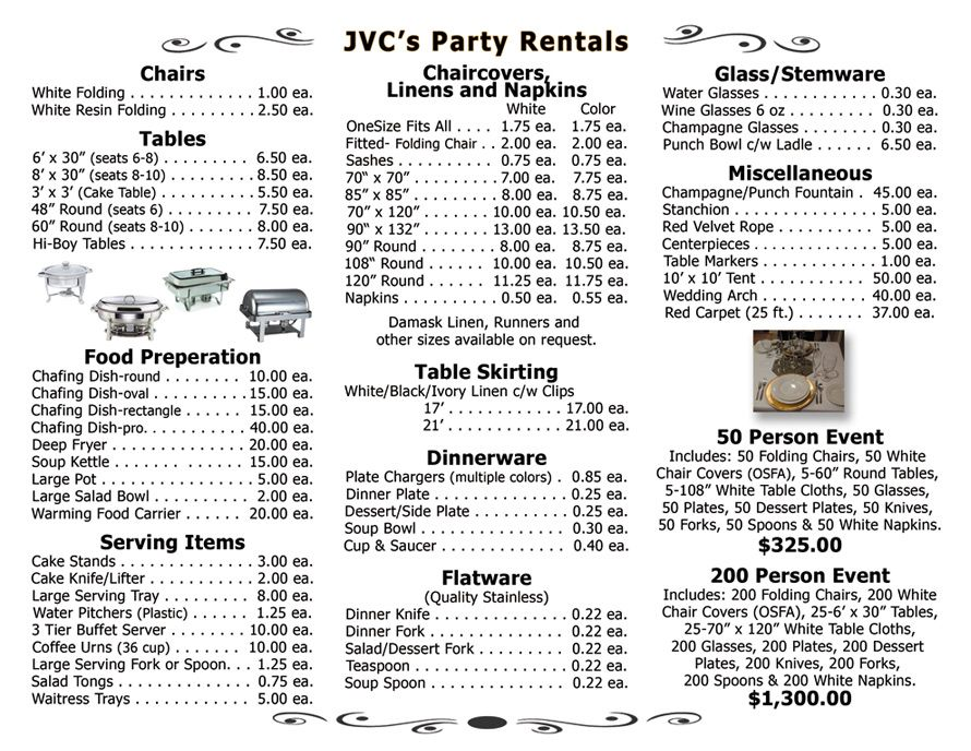 Full Price List Party rentals business, Party chairs