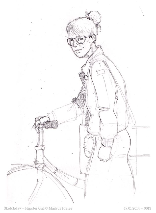 """Sketchday #0013 . Hipster-Girl . I drew the hipster girl because I wanted to have nice smile in the trailer video for my upcoming crowdfunding campaign """"ONE. A Graphic Lyrics Book""""."""