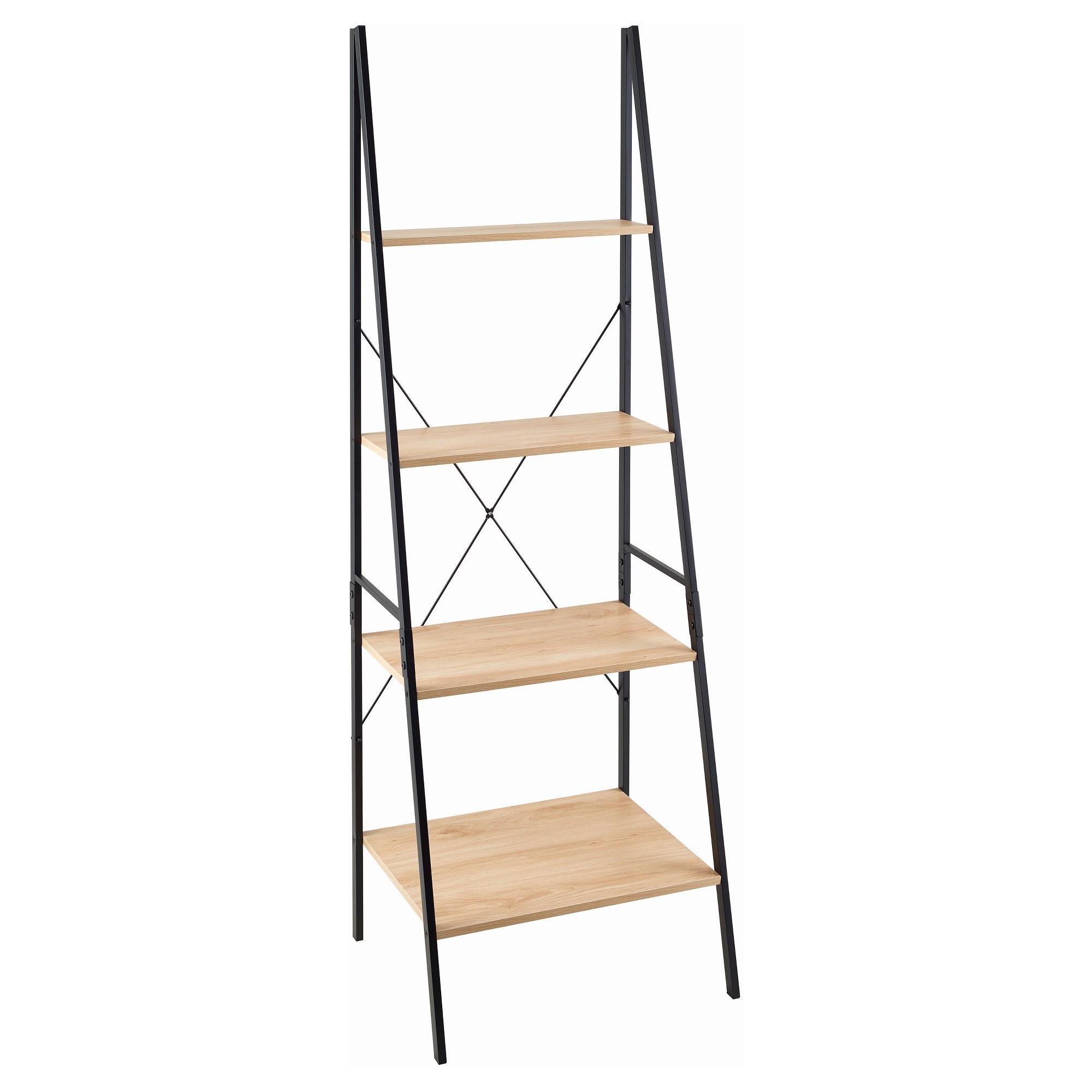 70 Ladder Bookshelf Mixed Material Light Brown Closetmaid