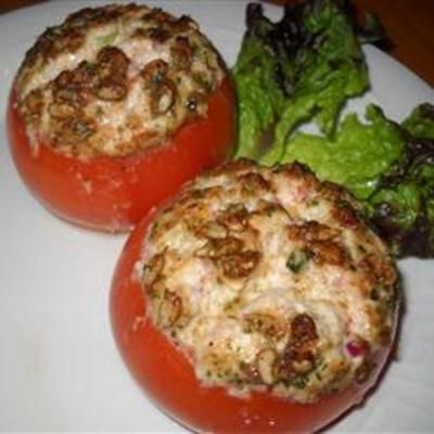 #recipe #food #cooking Tuna and Goat Cheese Stuffed Tomatoes