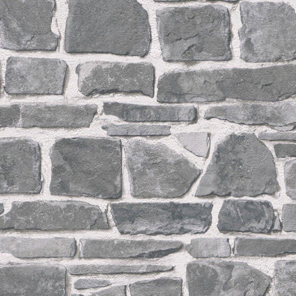 Papel pintado imitaci n piedra gris pdd521265620 papel for Papel imitacion piedra barato