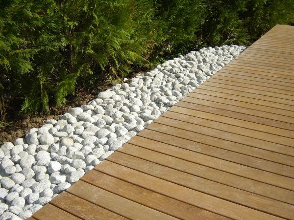 Terrasse Bois Composite Et Galets   Contour Maison