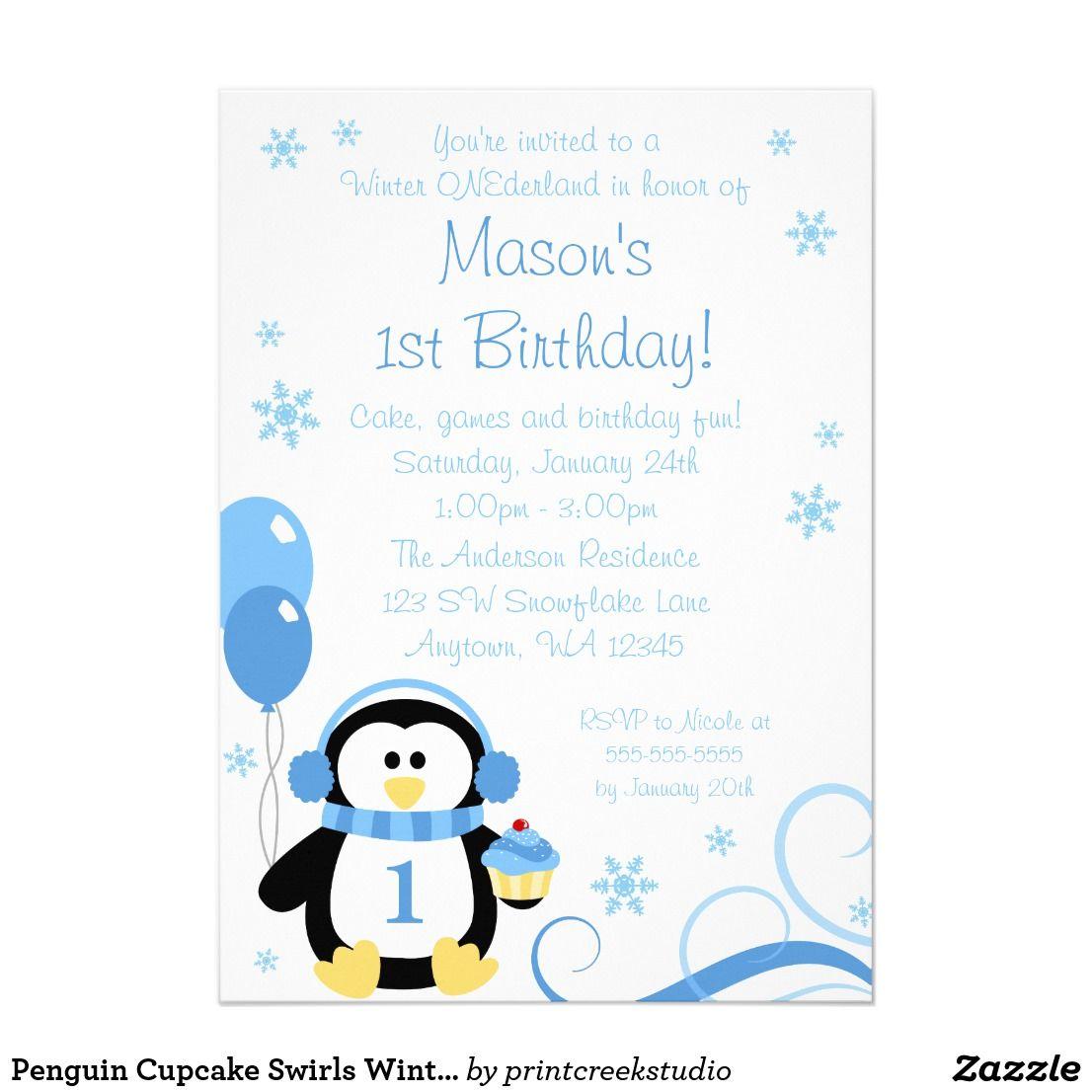 Penguin Cupcake Swirls Winter Onederland Blue Card A cute boy winter ...
