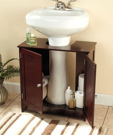 Wooden pedestal sink storage cabinet 2 finishes avail for Ideas para decorar mi bano pequeno