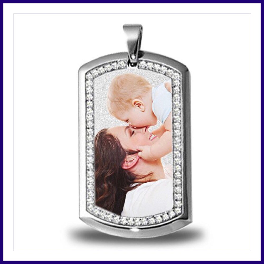 This Stainless Steel Dog Tag is a fantastic Birthday or Anniversary gift for the perfect Man in your life. Upload, Email or Mail us your photo. Engrave a personal message on the back. #anniversary #birthday #photopendant #photojewelry #wedding #laserengraving #photoengraving